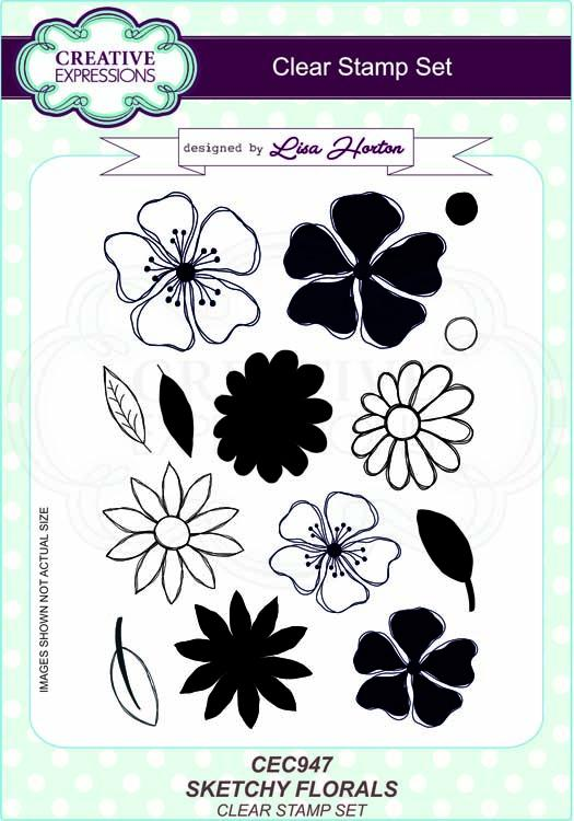 Sketchy Florals A5 Clear Stamp Set