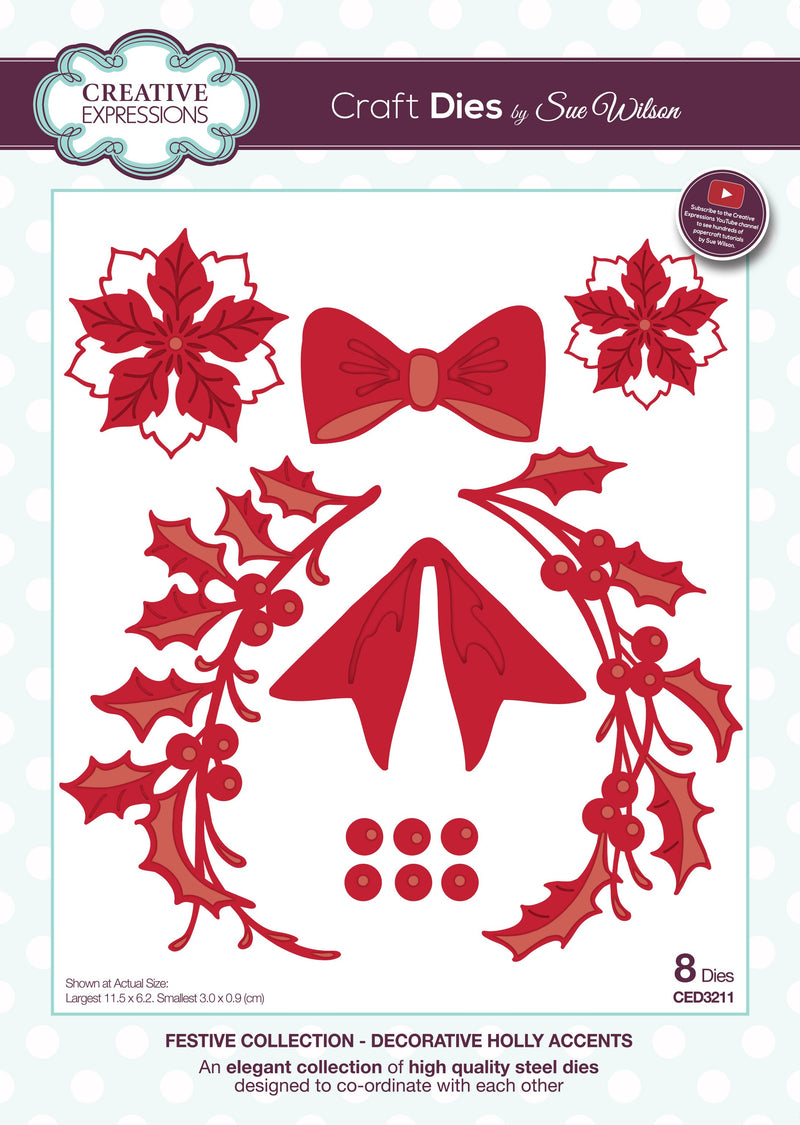 Dies by Sue Wilson Festive Flower, Sprig and Bow