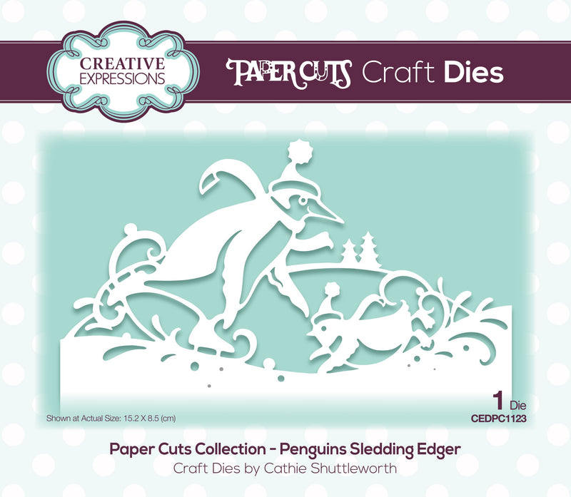 Creative Expressions Paper Cuts Edger Penguins Sledding Craft Die