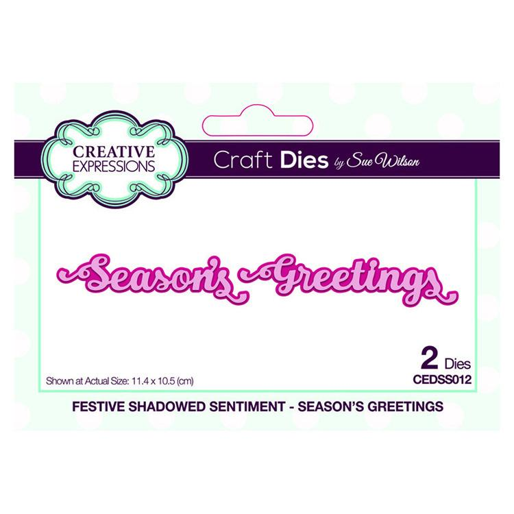 Festive Shadowed Sentiment Season's Greetings Craft Die