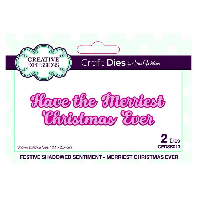 Festive Shadowed Sentiment Merriest Christmas Ever Craft Die