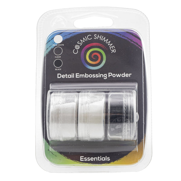 Cosmic Shimmer Detail Embossing Powder Trio - Essentials - Black, True White & Clear