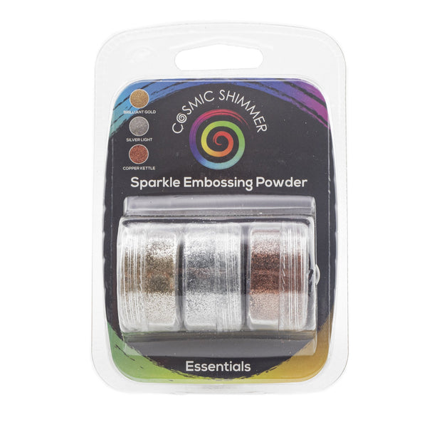 Cosmic Shimmer Sparkle Embossing Powder Trio - Essentials - Brilliant Gold, Silver Light & Copper Kettle