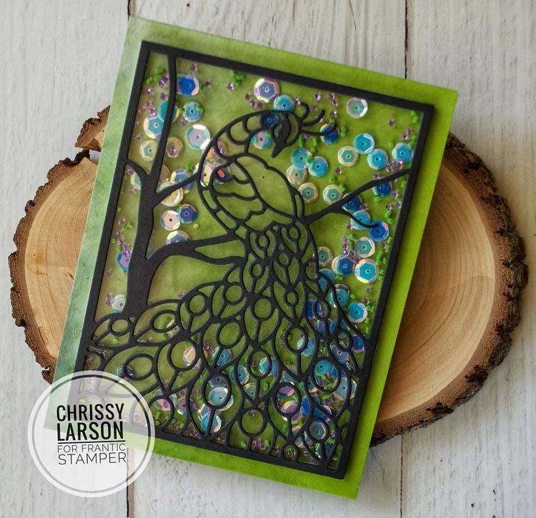 Frantic Stamper Precision Die - Perched Peacock Card Panel