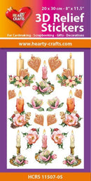 Hearty Crafts 3D Relief Stickers A4 - Christmas Candles