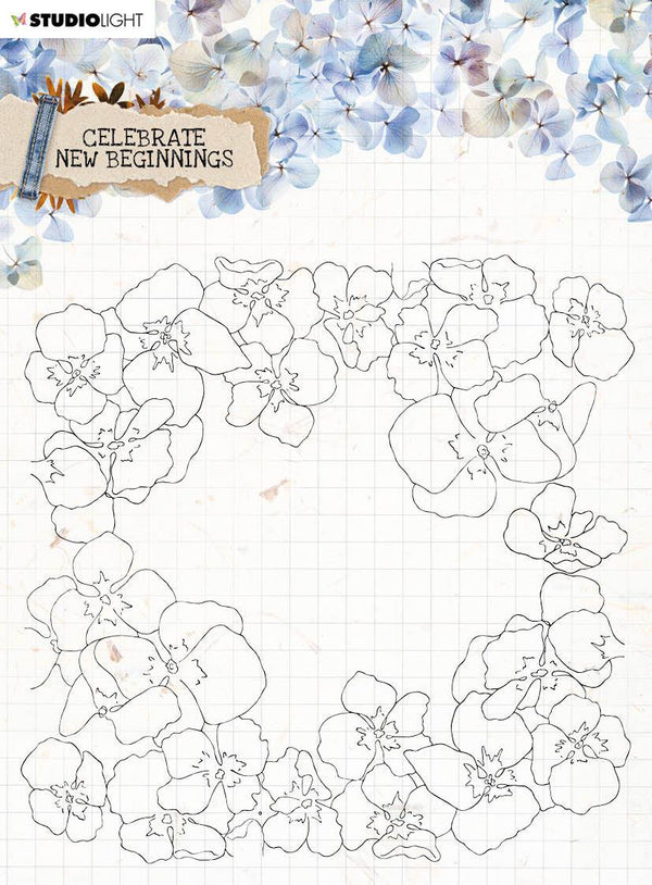 Clear Stamp background Celebrate New Beginnings 150x150mm nr.518