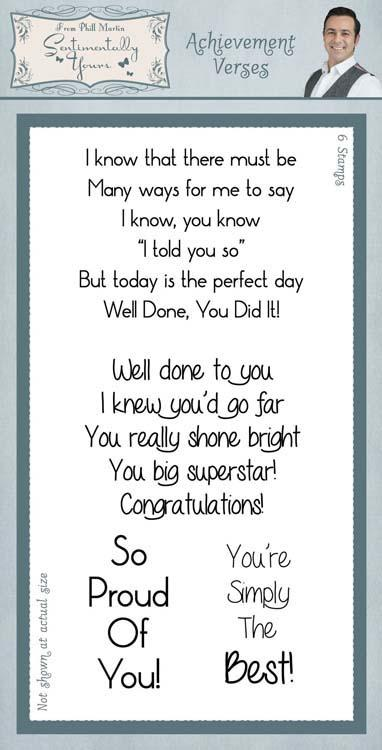 Sentimentally Yours Clear Stamp Set Classic - Achievement Verses