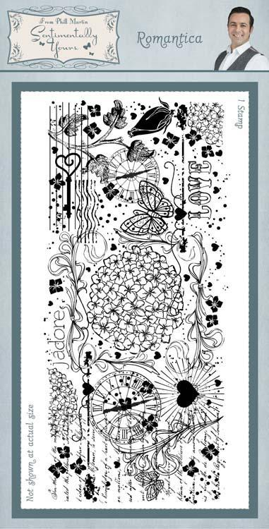 Sentimentally Yours Romantica 4 x 8 Rubber Stamp