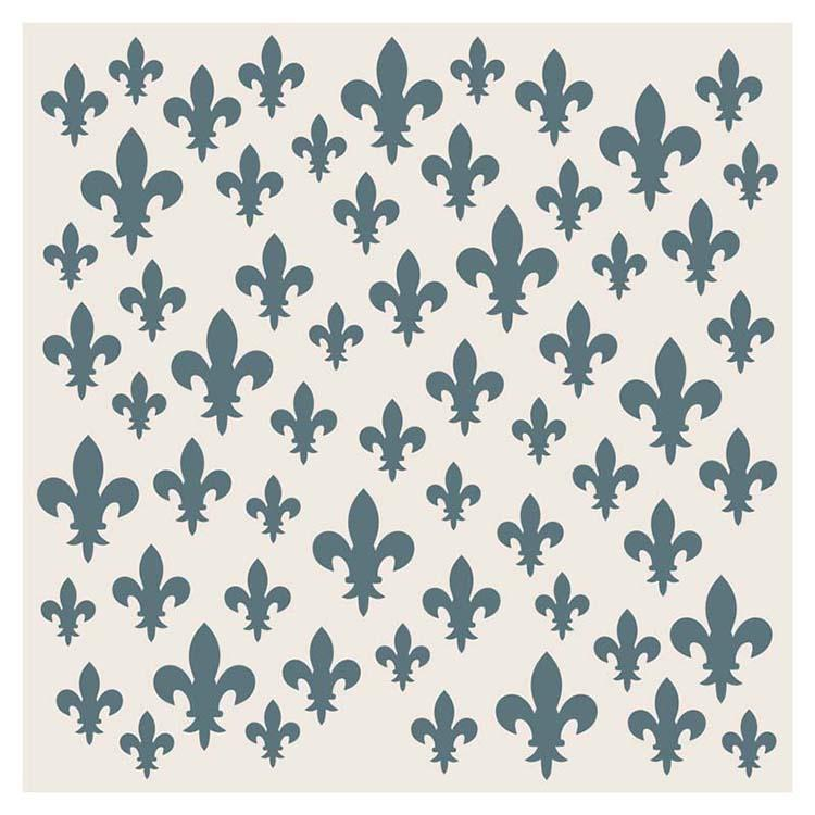 Sentimentally Yours Scattered Fleur De Lis 8 x 8 Stencil