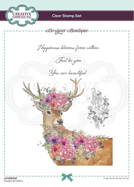 Designer Boutique Collection Flowers & Antlers A5 Clear Stamp