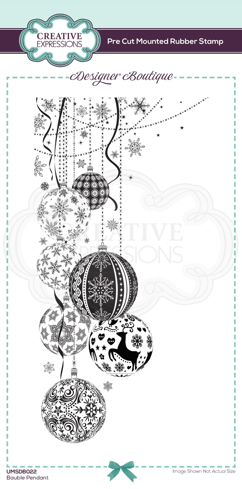 Designer Boutique Collection Bauble Pendant DL Pre Cut Rubber Stamp