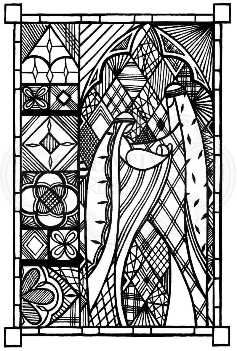 Designer Boutique Collection Stained Glass Holy Family 6 x 4 in Pre Cut Rubber Stamp