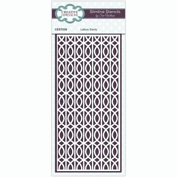 Sue Wilson Lattice Swirls Slimline Stencil
