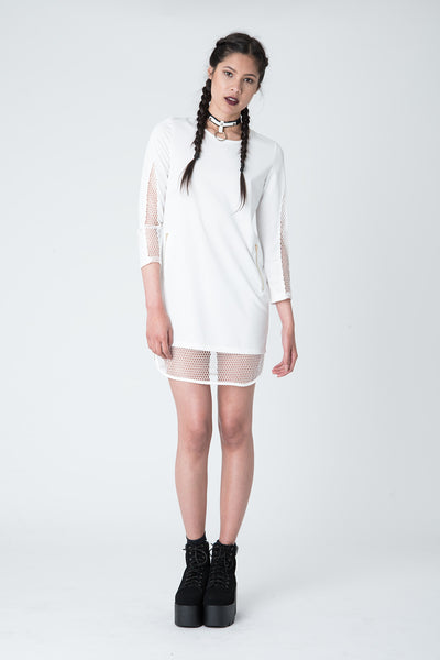 Breaker White Fishnet Dress