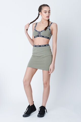 Layla Khaki Bodycon Skirt