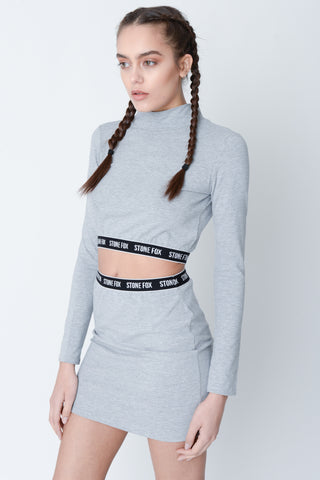 Marnie Grey Cut Out Crop Top