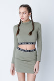 Stone Fox Khaki High Neck Crop Top