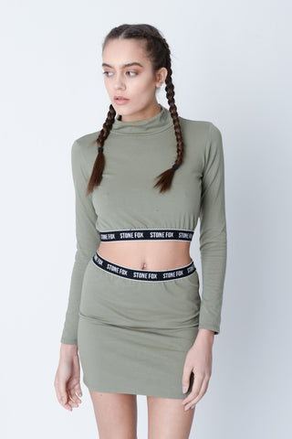 Marnie Khaki Cut Out Crop Top