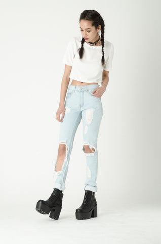 Slash Blue Ripped Mom Jeans