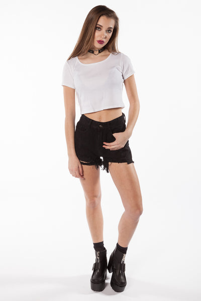 So Basic White Crop Tee