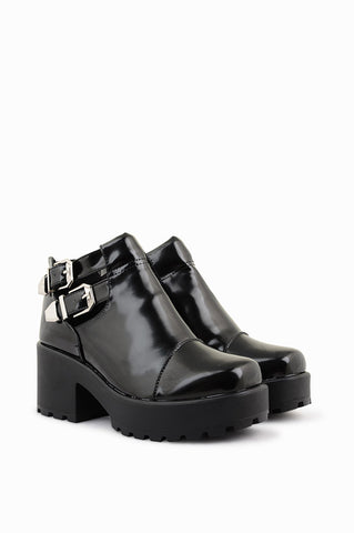 Bella Black Shine Platform Boots