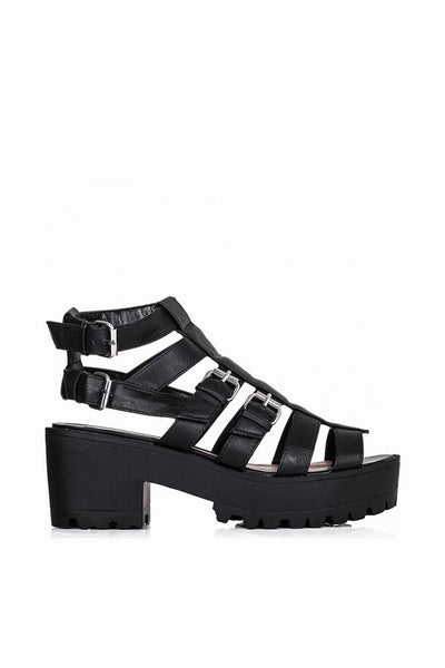 Mercy Black Gladiator Sandals