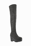 Vixen Grey Suede Over Knee Boots