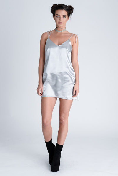Harlow Silver Satin Dress