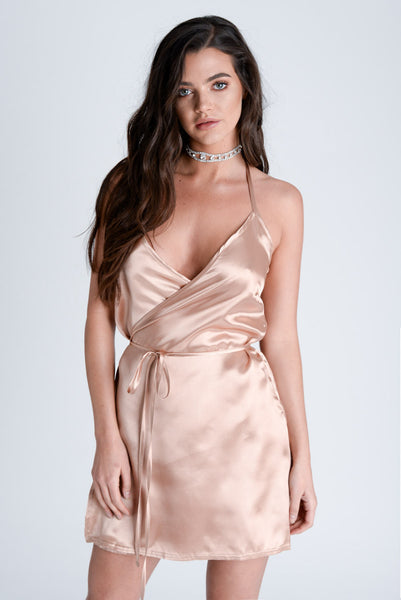Harper Copper Satin Wrap Dress