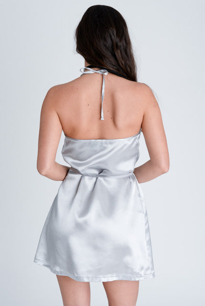 Harper Silver Satin Wrap Dress