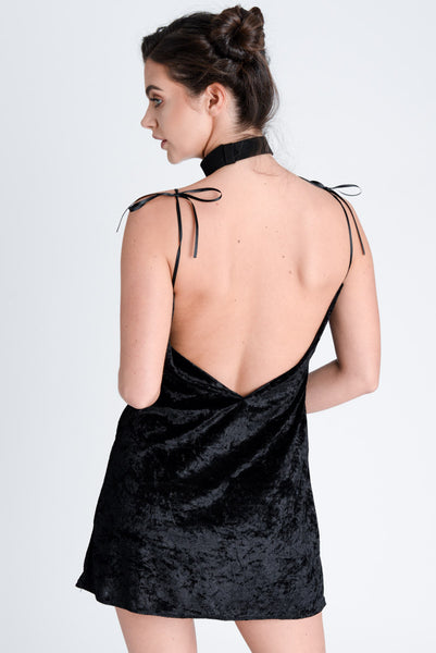 Jagger Black Crushed Velvet Dress