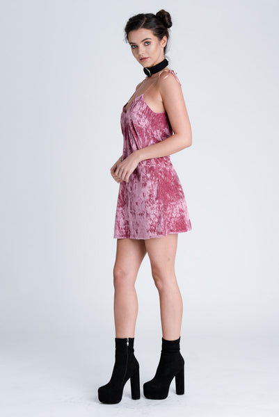 Jagger Rose Crushed Velvet Dress