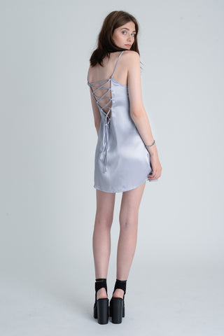 Lolita Silver Lace Up Dress