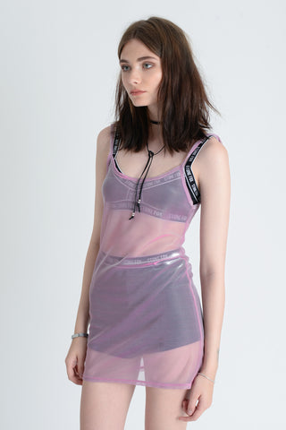 Luna Sheer Pink Metallic Dress