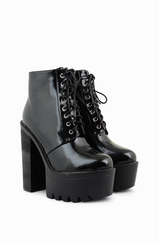 Shay Patent Cleated Platform Boots