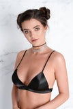 Willow Black Satin Bralet