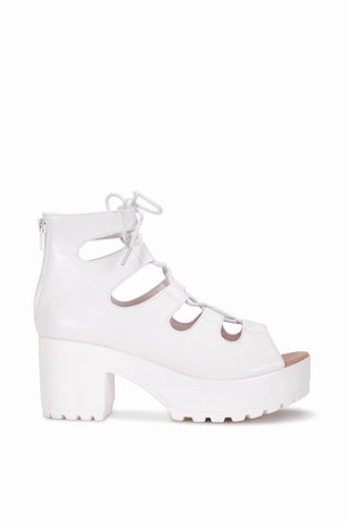 Zena White Lace Up Sandals