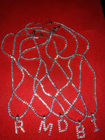 Tennis Chain Initial Necklace 18'