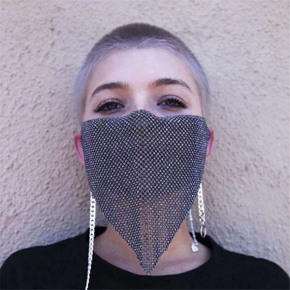 Black Crystal Bling Face Mask - MaskJunkee