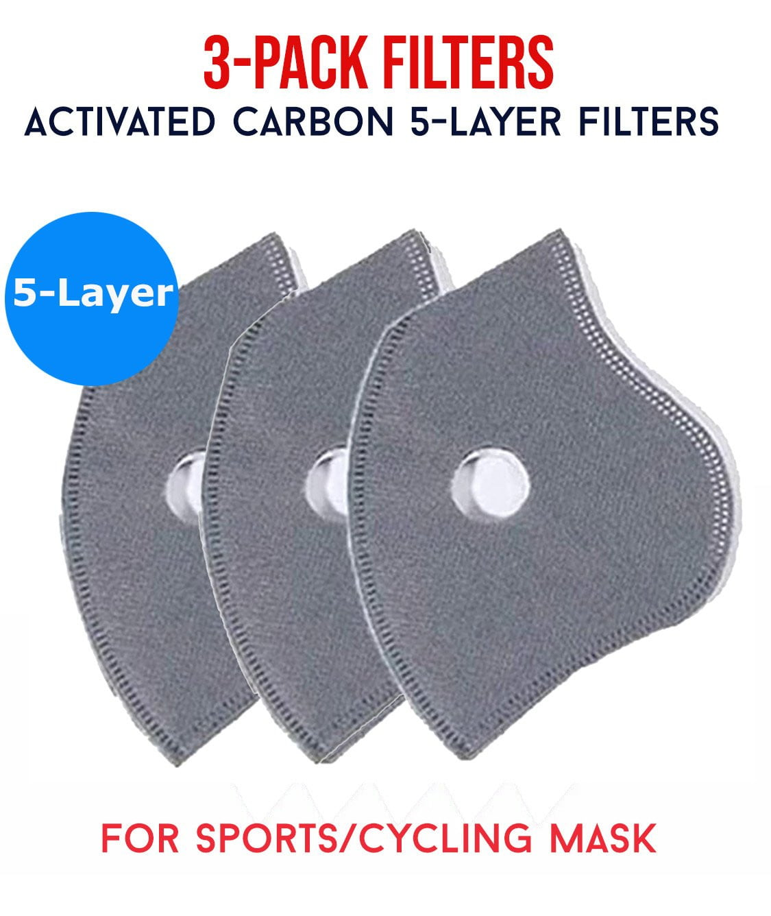 Sports Mask Activated Carbon PM2.5 Filters - MaskJunkee