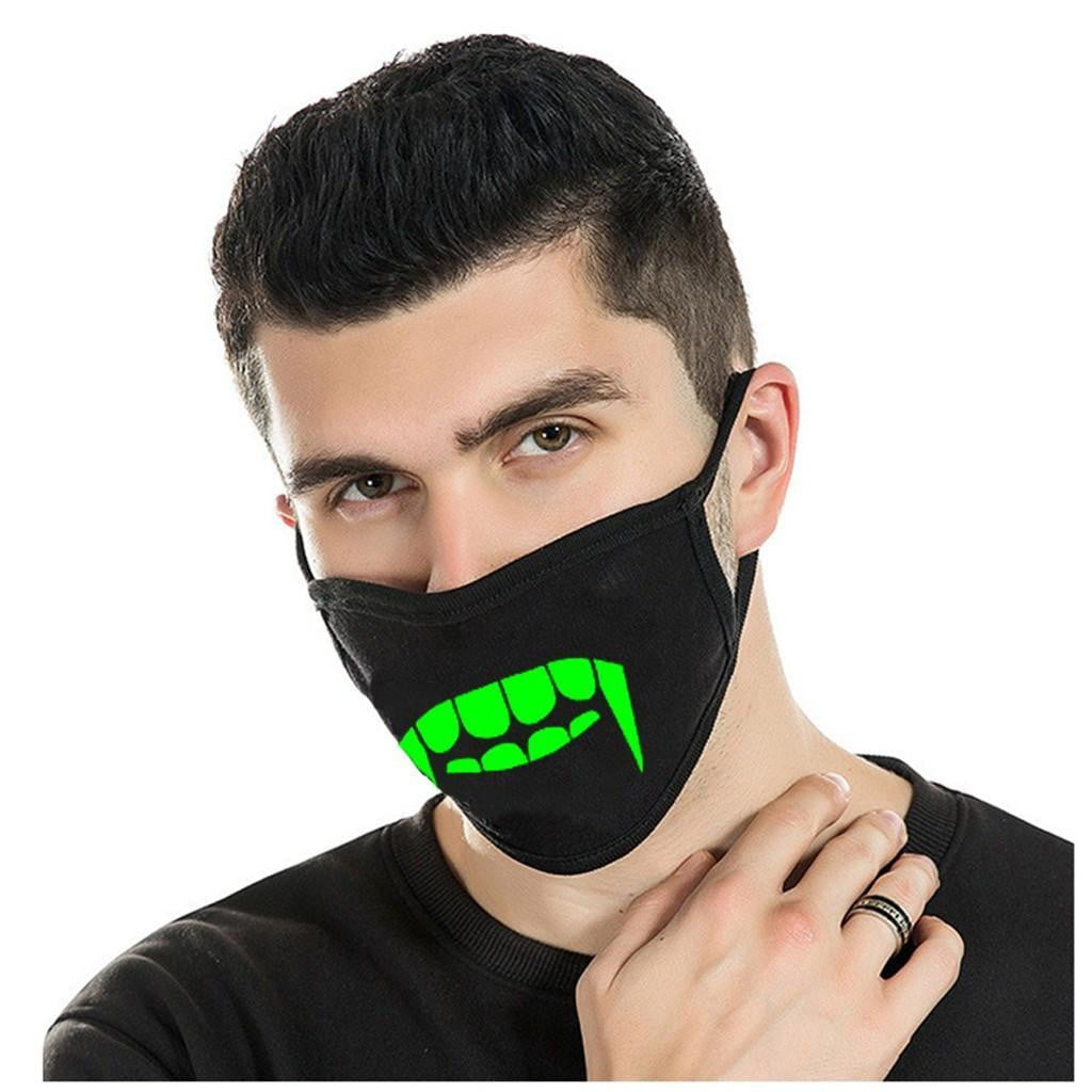 Glow-In-The-Dark Fangs Face Mask - MaskJunkee