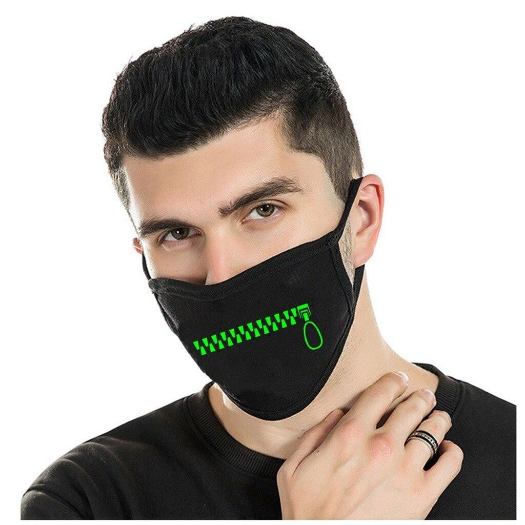 Glow-In-The-Dark Zipper Mouth Face Mask - MaskJunkee