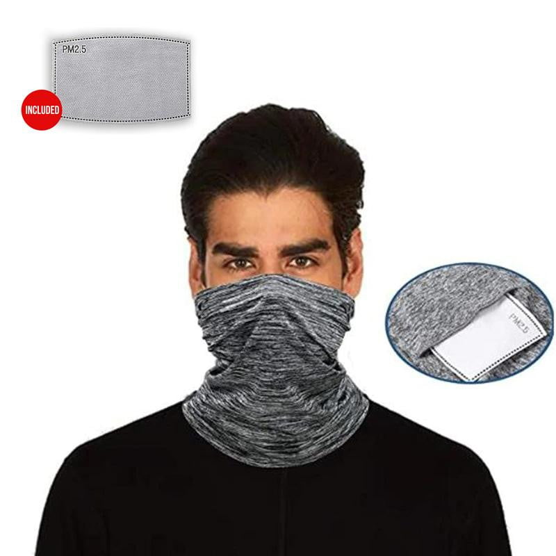 Grey Neck Gaiter with Filter - MaskJunkee