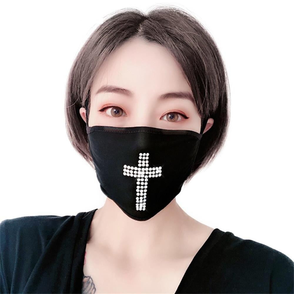 Rhinestone Cross Face Mask - MaskJunkee