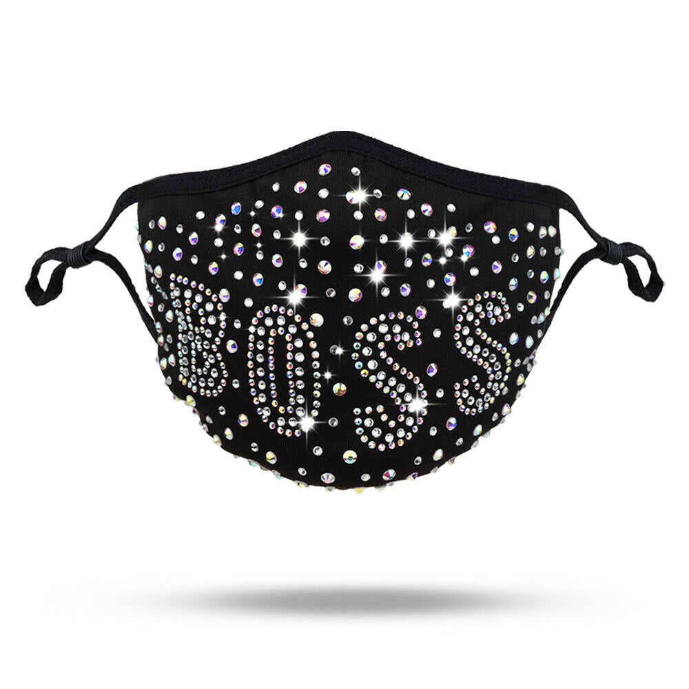 Rhinestone Crystal Bling Washable Face Mask (Queen, Sexy, Boss)