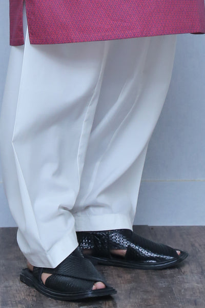 OFF WHITE COTTON SILK - MEN SHALWAR