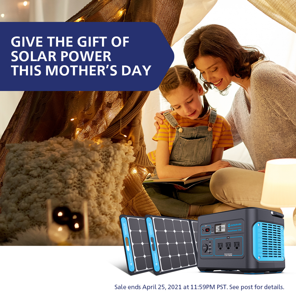 A woman and young girl read a book inside a tent. In the foreground is a picture of the Generark Solar Generator bundle with the text, give the gift of solar power this mother's day.