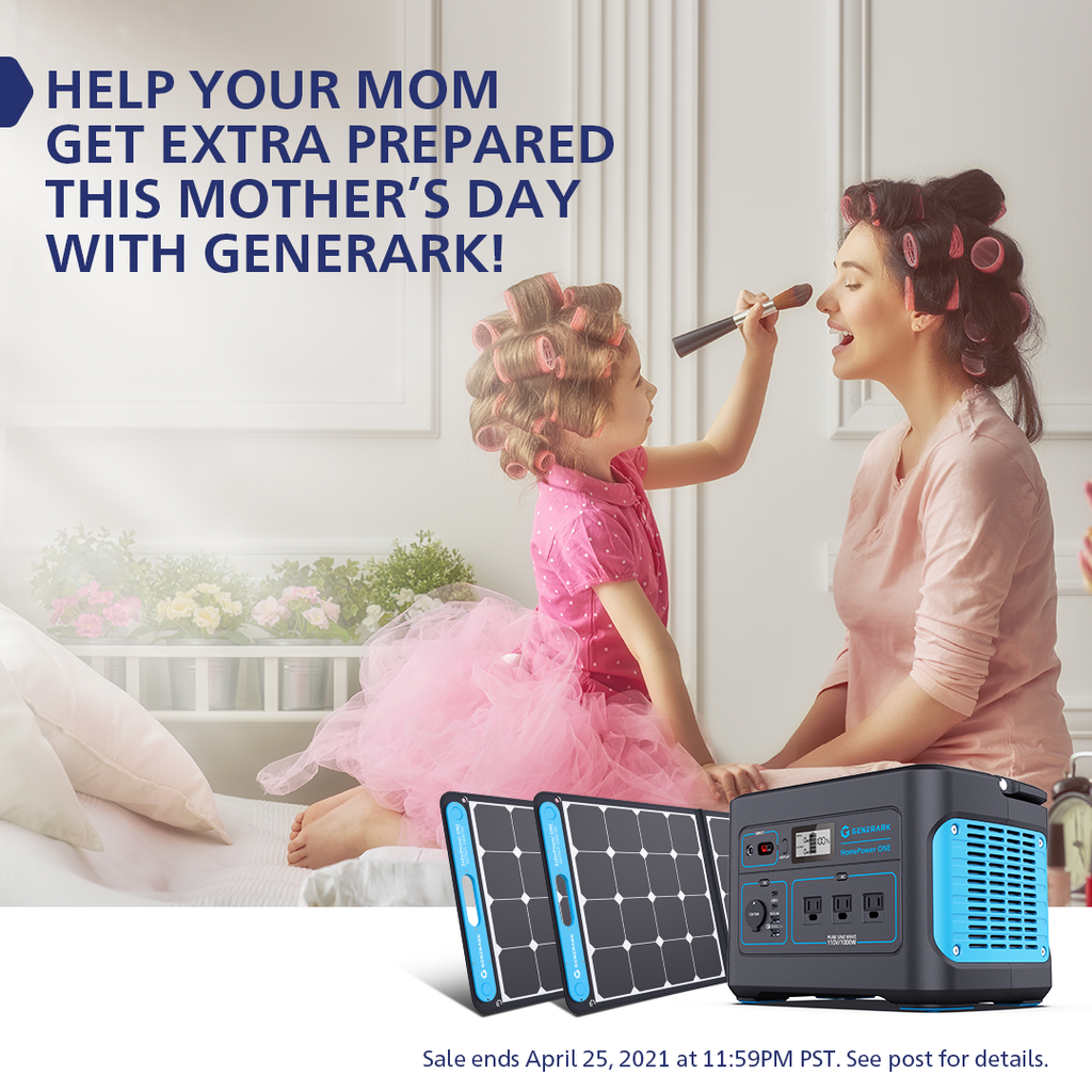 A young girl puts makeup on her mom's face. In the foreground is a picture of the Generark Solar Generator with the words, help your mom get extra prepared this mother's day with Generark.