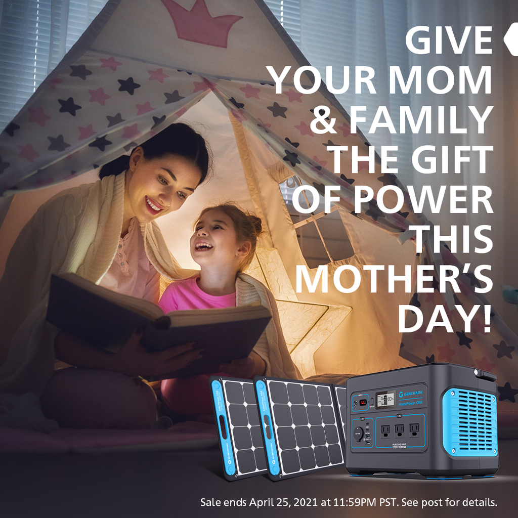 A woman and young girl read a book inside a tent. In the foreground is a picture of the Generark Solar Generator bundle with the text, give your mom & family the gift of power this mother's day.