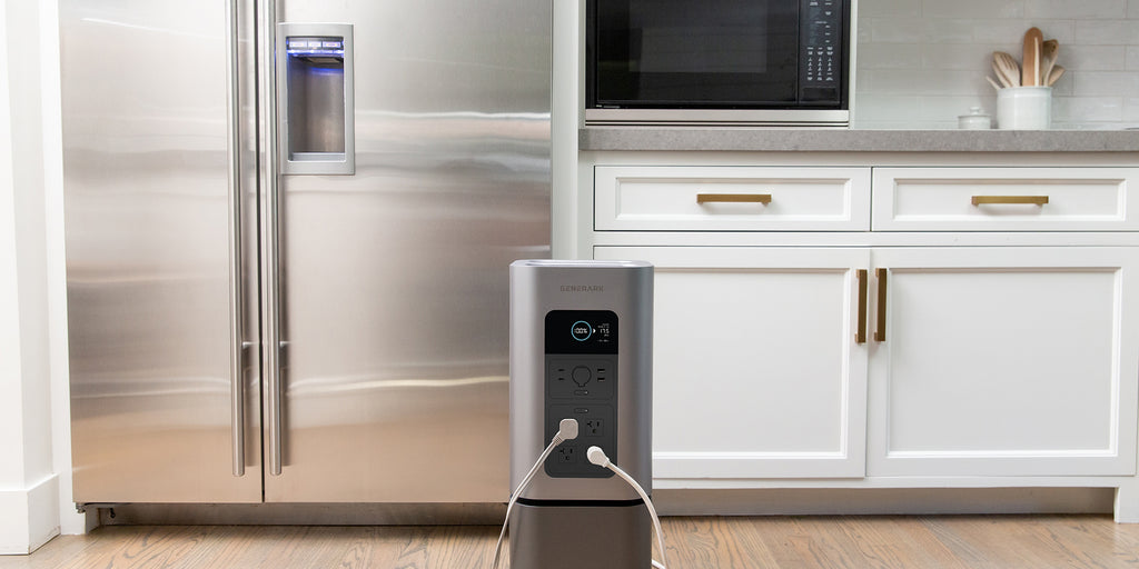 The HomePower 2 sits in a kitchen charging from an AC outlet.